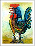Alonline Art - The Rooster Pablo Picasso Black Aluminum Framed Poster (Print on 100% Cotton Canvas on Foam Board) - Ready to Hang | 13''x18'' | Giclee Frame Framed Artwork for Home Decor Framed Canvas