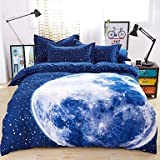 W&P Bedding 4 big and oversized blue globe boys and girls North Korea sheets , queen