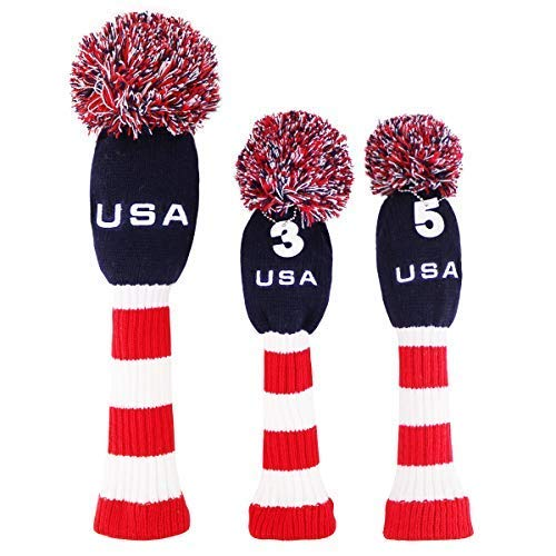 Big Teeth Knitted Golf Club Head Covers Set of 3 Driver 460cc Fairway Hybrid UT Covers Pom Pom with Number Tag