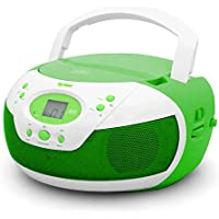 Tyler Portable Neon Green Stereo CD Player with AM/FM Radio and Aux & Headphone Jack Line-In (TAU105-NGRN)