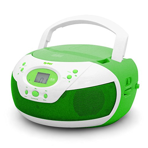 Tyler Portable Neon Green Stereo CD Player with AM/FM Radio and Aux & Headphone Jack Line-In (TAU105-NGRN) (Cd Player Aux In)