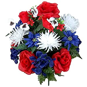 Admired By Nature GPB073-RD/WT/BL 18 Stems Rose, Red/White/Blue, Piece 10