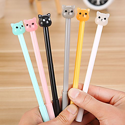 Katoot@ 6 pcs/lot Kawaii Dog gel pens for writing cute 0.38mm candy color black ink pen for kids gift material school supplies escolar (Pen Writing Dog)
