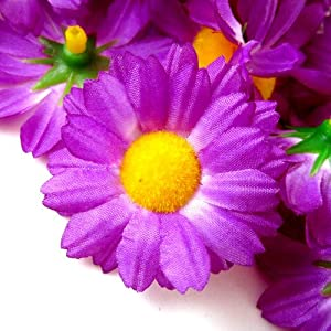 "(12) Silk Violet Gerbera Daisy Flower Heads , Gerber Daisies - 1.75"" - Artificial Flowers Heads Fabric Floral Supplies Wholesale Lot for Wedding Flowers Accessories Make Bridal Hair Clips Headbands Dress 76"