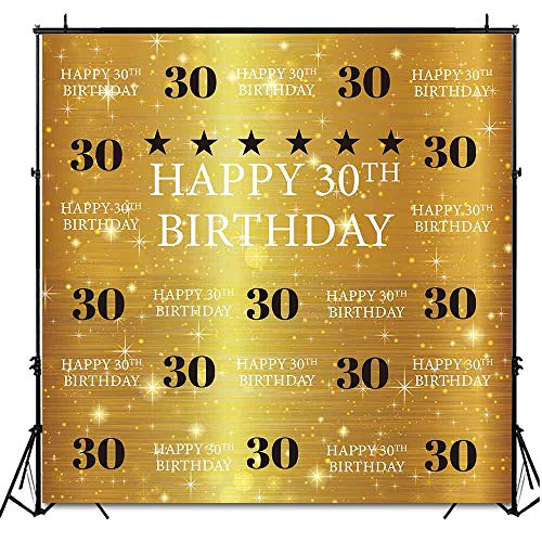 Funnytree 6X6ft Gold 30th Birthday Photography Backdrop Adult Step and Repeat Golden Glitter Shiny Background Thirty Years Old Age Party Decoration Photo Banner Photobooth Props -