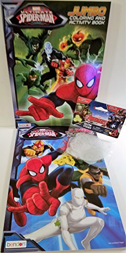 2-marvel-ultimate-spider-man-jumbo-coloring-and-activity-books-with-set-of-3-avenger-glow-stars
