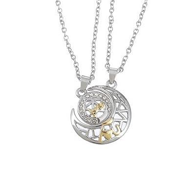 MJARTORIA Couple Puzzle Collier Ciselé Couleur Argent Pendentif Lune et  Soleil motif I Love U Incrustation 9bc13bee90df