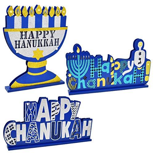 Gift Boutique Happy Hanukkah Table Topper Decorations 3 Pack Happy Chanukah Menorah Dreidel Star of David Centerpieces Judaica Desk Shelf Display Sign Party Decor Accessories