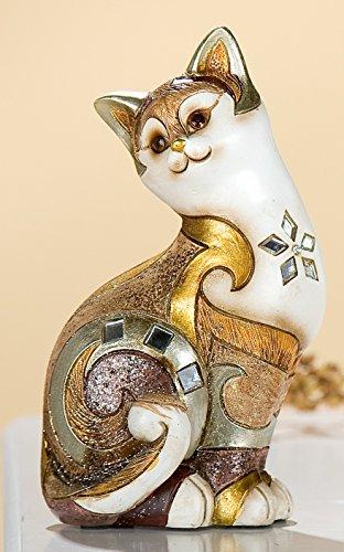GILDE exklusive Dekofigur Katze Katzenfigur Dekokatze byzantini mit Spiegelmosaik, 17 cm