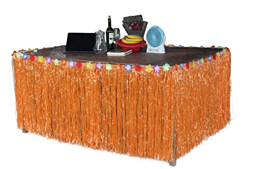 Hawaiian Hibiscus Table Skirt With Color String   Silk Faux Flowers Party Decoration  Orange  9 Ft