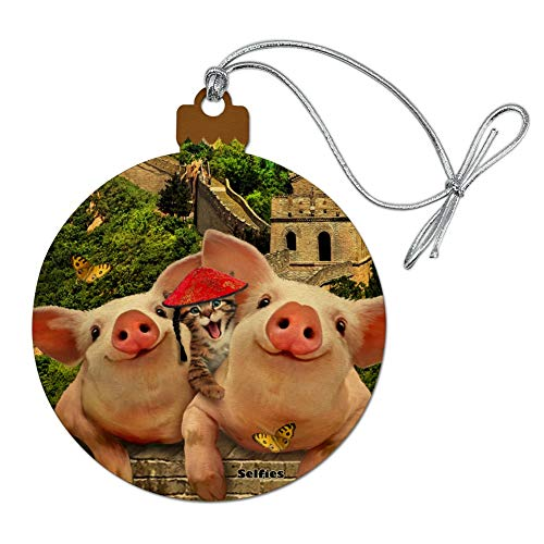 Graphic Wall Howard - GRAPHICS & MORE Great Wall of China Selfie Pigs Kitten Wood Christmas Tree Holiday Ornament