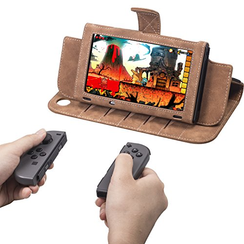Kaci Leather Case for Nintendo Switch - Premium PU Leather Slim Fit Play Stand Cover for Nintendo Switch 2017,Wrist Strap Attached for Easy Carrying,Brown by KACI