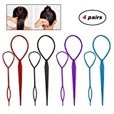 Adecco LLC 4 Pairs Hair Braid Accessories Ponytail Maker,French Braid Tool Topsy Tail Loop Hair Kit (4 Pairs Topsy Tail)