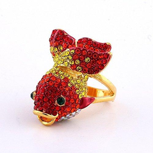 24k Austrian Gold Plated Crystal (GDSTAR rings for women Vintage Ring 24K Gold Plated Austrian Crystal Fish Rings 9.0)