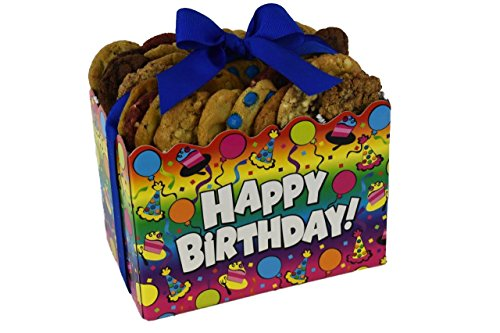 "Cookies From Home ""Birthday Surprise Gift Box"" - Freshly Hand Baked Gourmet Cookies and Brownies Gift Set -36 Cookies + 4 Brownies 