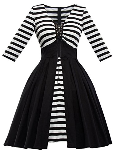 Ezcosplay Costumes (Ezcosplay Women Vintage Striped Patchwork Mid Sleeve A Line Swing Cocktail Dress)