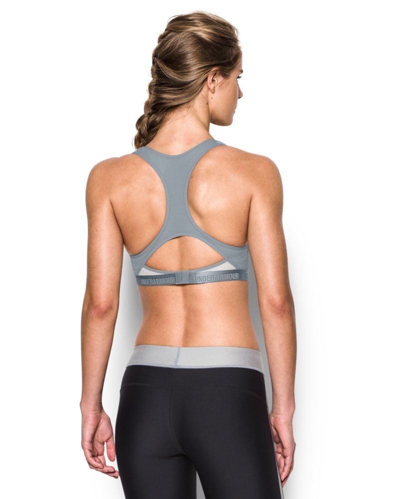 Under Armour Women's Armour High Bra, Air Force Gray Heath/Steel, 32B by Under Armour (Image #2)