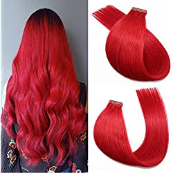 SeaShine Tape in Hair Extensions #Red 100% Remy Human Hair Extensions Silky Straight for Fashion Women 20 Pcs/Package(16Inch #Red 30g)