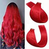 Bleaching Hair Hot - SeaShine Tape in Hair Extensions #Red 100% Remy Human Hair Extensions Silky Straight for Fashion Women 20 Pcs/Package(18Inch #Red 40g)