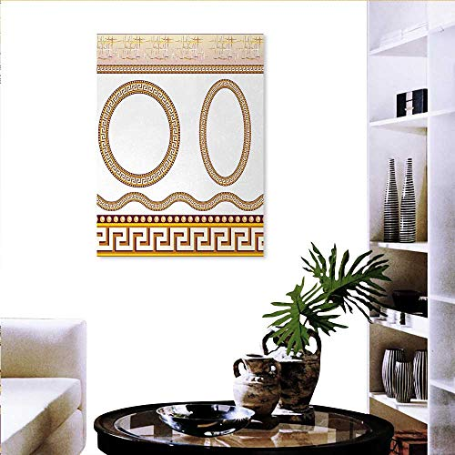 Greek Key Customizable Wall Stickers Ancient Fret Pattern in Oval Circle Shapes Wavy Straight Borders Canvas Wall Art 16