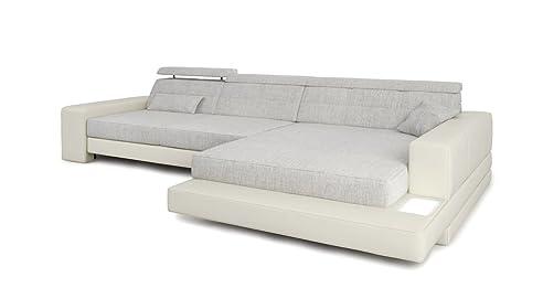 Sofa modern stoff grau  Ecksofa Couch L-Form weiß / grau platin Leder Wohnlandschaft + ...