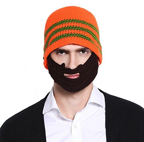 Unisex Ski Wacky Beard Knit Winter Hat Beanie