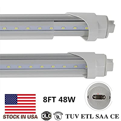 T8/T10/T12 LED Light Tube, 8ft 48W R17d ,Replacement- F96T12/CW/HO - 110 Watt Fluorescent Tube, 6000K (Cool White), Double Ended Power, Frosted Cover 20-Pack US SHIP