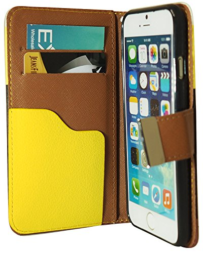 Exian Apple iPhone 6 Screen Guards x2 and Multi-Colour Leather PU Wallet Case Yellow/Black/Red