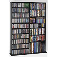 Leslie Dame CDV-1000BLK High Capacity Oak Veneer Multimedia Storage Rack, Black