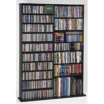 Leslie Dame CDV 1000BLK High Capacity Oak Veneer Multimedia Storage Rack,  Black
