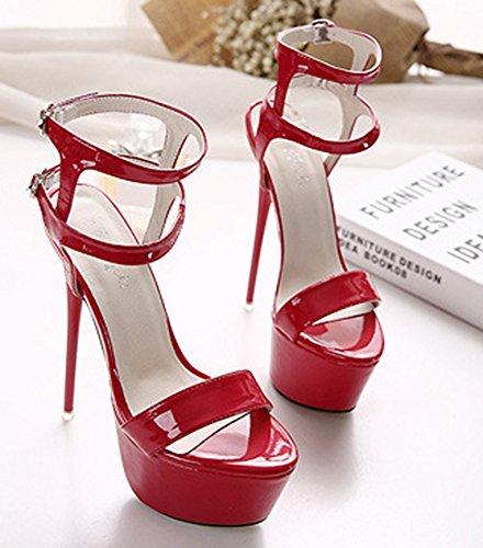 Sandales Rouge Mode Aiguille Aisun Femme Plateforme Talon T1wnPqB