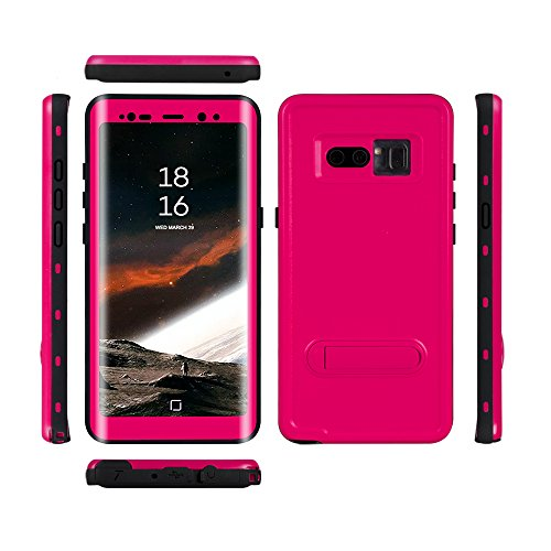 Samsung Galaxy Note 8 Waterproof Case, Shockproof Dustproof Snowproof Full-body Underwater Protective Box Rugged Cover with Kickstand and Built in Screen Protector for Galaxy Note8 (PINK) (Rear Std Bumper)