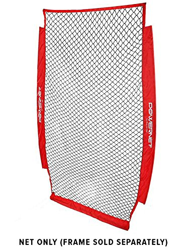 PowerNet 4x7 Portable Pitching I-Screen NET ONLY | Baseball Pitcher Protection | Instant Player and Coach Protector from Line Drives Grounders | Heavy Duty Knottless Netting | Batting Practice ()