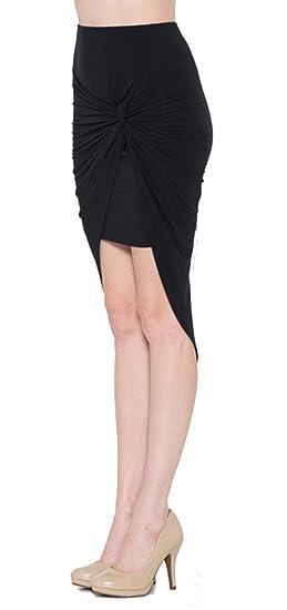 08dfb39cc7 Fashion Secrets Women Front Shirred Asymmetrical High Low Short Pencil Mini  Skirt