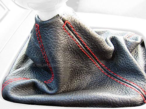 RedlineGoods shift boot compatible with Mazda Miata NA 1990-97. Black leather-Black thread