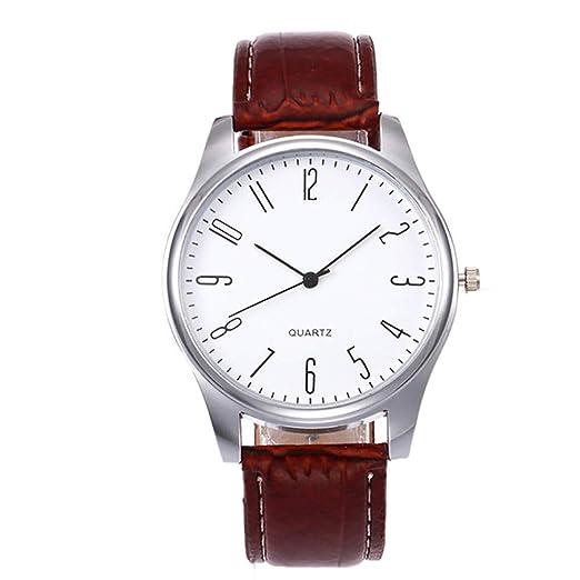 Reloj Elegante de Cuarzo con Pulsera de Cuero para Hombre: Amazon.es: Relojes