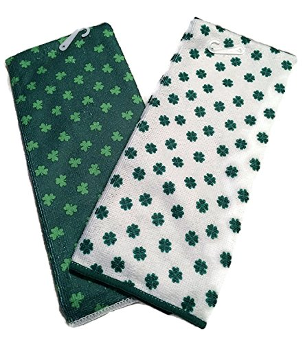 St Patrick's Day Towel Set Luck of the Irish Bar Towells White Green 4 Leaf Clover Shamrock
