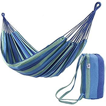 Camping 660 lb Load Capacity Carry Bag 98.4 x 59.1 Inches Outdoor with Hanging Straps for Garden Blue and Yellow Stripes UGDC15YU Carabiners SONGMICS Double Hammock
