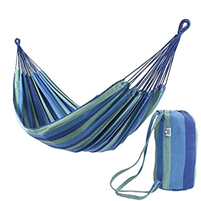 OnCloud Extra Long and Wide Double Hammock for Travel Camping Backyard, Porch, Outdoor or Indoor Use, Carrying Pouch Included Blue/Green Stripes - Upgrated Size:Extra wider and longer overall size 142*63 Inch and Bed Size: 94*63 Inch.Listen to customer's voice and we have made effort to make the hammock longer and wider to make lie on more comfortable. Static Capability: Holds up to 450 lbs securely. Durability: Sturdy construction with Soft Cotton and well-made thick polyster fabric. - patio-furniture, patio, hammocks - 51iih2ExmmL. SS400  -