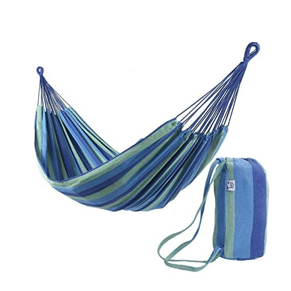 ONCLOUD Extra Long and Wide Double Hammock for Travel Camping Backyard, Porch, Outdoor or Indoor Use, Carrying Pouch Included (Blue/Green Stripes) - Upgraded Size: Wider, 142 * 63 inches in overall size and 94 * 63 inches in bed size. We listen to customers' voice and make an effort to make the hammock longer and wider to make it more comfortable. Static capacity: Can hold up to 450 pounds safely. Durability: Robust construction with soft cotton and well-made thick polyester fabric. - patio-furniture, patio, hammocks - 51iih2ExmmL. SS570  -