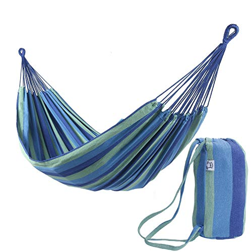 (OnCloud Extra Long and Wide Double Hammock for Travel Camping Backyard, Porch, Outdoor or Indoor Use, Carrying Pouch Included (Blue/Green Stripes) )