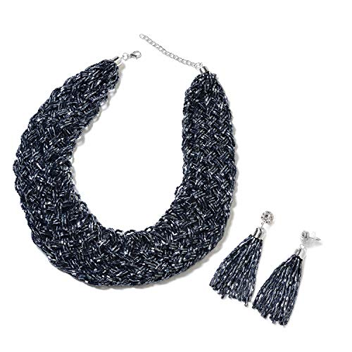 Midnight Blue Tube Seed Bead Tassel Earrings and Braided Statement Bib Necklace Set Jewelry for Women Size 20