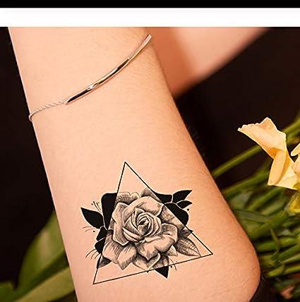 LFVGUIOP Negro 3D Tatuajes de Rosa Mujeres Temporales Brazo Manos ...