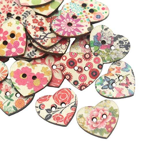 AKOAK 50 Pack 25MM 2-Hole Mixed Flower Pattern Printed Wooden Peach Heart Shaped Buttons Wood Sewing Buttons DIY Scrapbooking Clothe Buttons