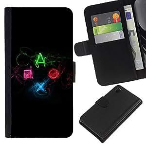 KLONGSHOP // Tirón de la caja Cartera de cuero con ranuras para tarjetas - Botones controlador de juego DUALSHOCK - Sony Xperia Z3 D6603 //