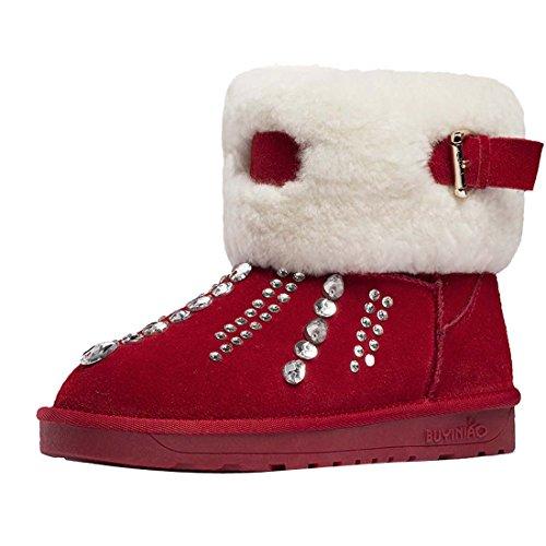 Diamonds Donna Hooh Warm Boots Buckle Nubuck Snow Rosso ZqwvFfqHTO