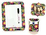 Locker Accessories Bundle by LockerLookz - Floral & Dark Navy - 3 Items: 1 Whiteboard, 1 Photo Frame, 1 Storage Bin
