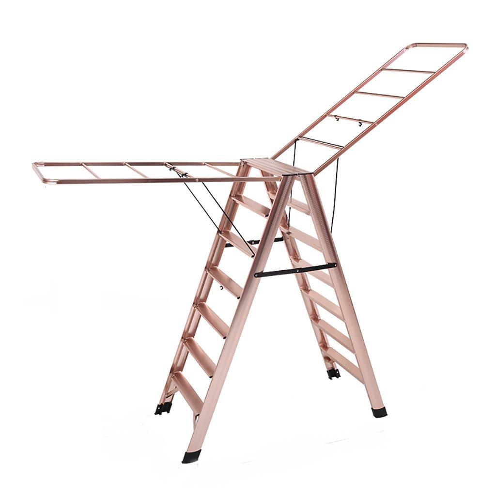 乾燥ラック、2つ折り可能な多目的ラダー、アルミローラー立て、ローズレッド、屋内棟型可動シンプルハンガー (サイズ さいず : 7 steps) B07G2T6J5Z  7 steps