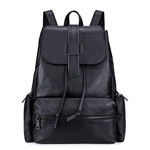 S-ZONE Casual Women Real Genuine Leather Backpack Fashion Bag Daypack Large (Large Genuine Leather Backpack Bag)