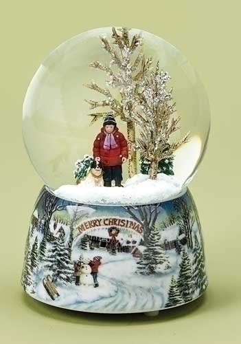 Merry Christmas Snowy Woodland Scene Music Snow Globe Glitterdome - 5.5